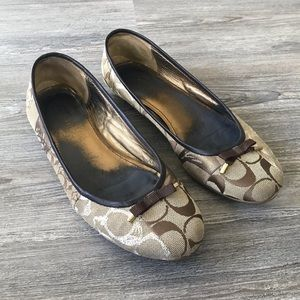 COACH | THORA CANVAS SIGNATURE STYLE BROWN FLATS